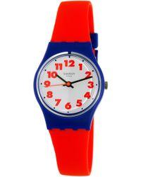 Swatch | Originals Ls116 Red Rubber Swiss Quartz Fashion Watch | Lyst