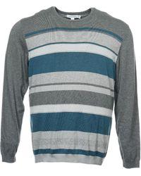 CALVIN KLEIN 205W39NYC - Gray Wide Horizontal Striped Crew Neck Sweater - Lyst