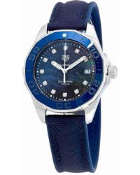 Tag Heuer - Aquaracer Blue Mother Of Pearl Diamond Dial Ladies Watch Way131l.ft6091 - Lyst