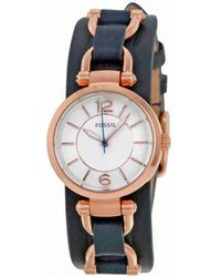 Fossil | Georgia White Dial Navy Blue Leather Ladies Watch Es3857 | Lyst