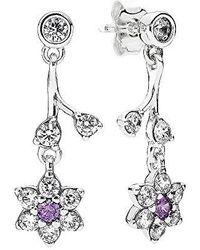 PANDORA - Forget Me Not Purple Dangle Earrings 290691acz - Lyst