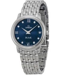 Omega - Deville Prestige Blue Diamond Dial Ladies Watch 42410276053001 - Lyst