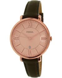 Fossil   Jacqueline Es3707 Grey Leather Quartz Fashion Watch   Lyst