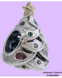 PANDORA - Charm Festive Tree With 14k Gold And Red - Lyst
