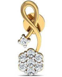 Diamoire Jewels 14kt Yellow Gold Nature Inspired Earrings with 14 Diamonds 1yWZPEuwg