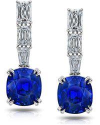 David Gross - Blue Cushion Sapphire And Diamond Drop Earrings - Lyst