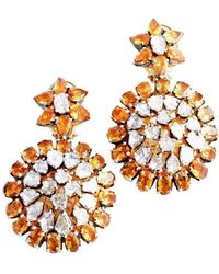 M's Gems by Mamta Valrani - Dazzle Earrings With Diamonds And Citrines - Lyst