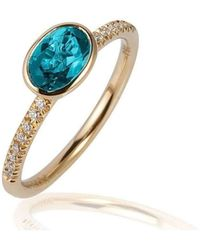 Goshwara - Gossip Blue Topaz Oval Stackable Rings With Diamonds - Lyst