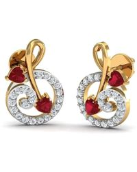 Diamoire Jewels 10kt Yellow Gold Pave Earrings with 12 Diamonds and 2 Round Cut Rubies KdOThKSrL