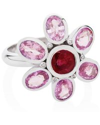Augustine Jewels - Ring In Pink Sapphire, Ruby And Diamond - Lyst