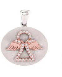 Cosanuova - Diamond Angel Medallion Pendant In White Gold - Lyst