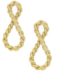 London Road Jewellery - Yellow Gold Infinity Drop Earrings - Lyst