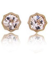 Brian Gavin Diamonds - Rose Gold & Cushion Checkerboard Morganite Studs Diamonds - Lyst