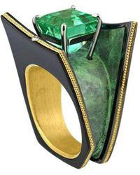 "Zoltan David - ""xena"" Emerald Knightsteel & Bronze Ring - Lyst"