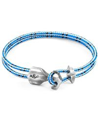 Anchor & Crew - Blue Dash Delta Anchor Silver & Rope Bracelet - Lyst