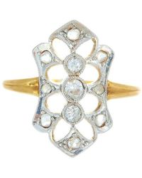 Alexis Danielle Jewelry - Antique Art Deco Diamond And Platinum 18kt Yellow Gold Ring - Lyst