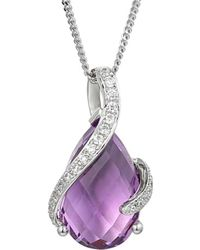 Amore Argento - Rhodium Plated Sterling Silver Spiralite Necklace - Lyst