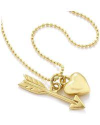Vicky Davies - Sterling Silver & 18kt Gold Heart & Arrow Pendant Necklace - Lyst