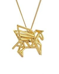 Origami Jewellery - Sterling Silver & Gold Frame Pegaze Origami Necklace - Lyst
