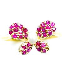 ERAYA - 14kt Yellow Gold Butterfly Ring With Ruby & Pearl - Lyst