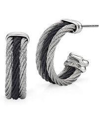 Alor - Noir Earrings Black And Grey Small Hoop - Lyst