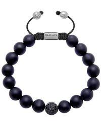 Nialaya   Beaded Bracelet With Matte Onyx And Black Cz Diamond   Lyst