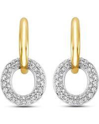 Isaac Westman - Pave Diamond Two Tone Earrings - Lyst