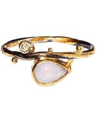 Bergsoe - Twisted Ring With South Sea Pearl, Diamond, And Sapphire - Lyst