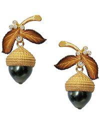 Chekotin Jewellery - Gold Pearl & Dimaond Acorn Eden Earrings   - Lyst