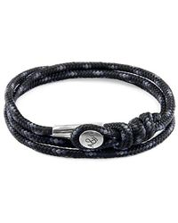 Anchor & Crew - Black Dundee Silver And Rope Bracelet - Lyst