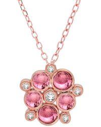 London Road Jewellery - 9kt Rose Gold Pink Tourmaline & Diamond Cluster Pendant Necklace - Lyst
