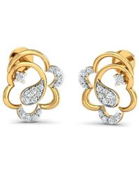 Diamoire Jewels - 18kt Yellow Gold 0.16ct Pave Diamond Infinity Earrings I - Lyst