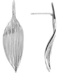 AWU Fine Jewelry - Sterling Silver Bamboo Leaf Stud Earrings | - Lyst