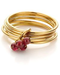 Jewellery Design Marie-Benedicte - Pure Line Ring In Gold And Red Garnets - Lyst