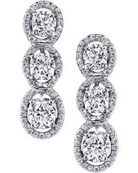 Harry Kotlar | Kotlar Cushion Three-stone Pave Drop Earrings | Lyst