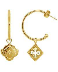 Murkani Jewellery - Medium Hoop Earrings With Mismatched Pendants In 18kt Yellow Gold Plate - Lyst