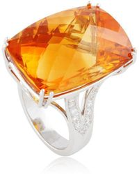 Cherie Thum - Fire And Ice Rectangular Cushion Madeira Citrine Ring - Lyst