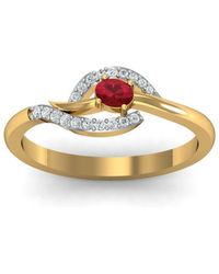 Diamoire Jewels 18kt Yellow Gold Pave 0.24ct Diamond Infinity Ring With Ruby - UK G 1/4 - US 3 1/2 - EU 45 3/4 J5mgBT