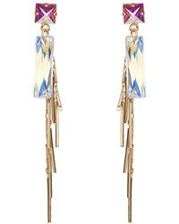 Nadia Minkoff - Yellow Gold Plated Baguette Cluster Earrings - Lyst