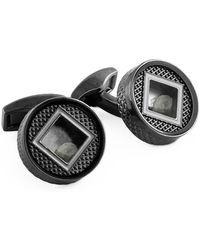 Tateossian - Gunmetal & Diamond Precious Window Round Cufflinks | - Lyst