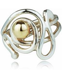 Lavan - Handmade Gold And Silver Contemporary Wire Work Ring - Lyst