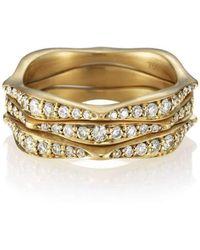 Anahita Jewelry - Wave Stack Ring With White Diamond Pavé - Lyst