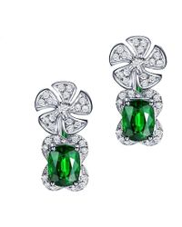 SILVER YULAN - Cushion Cut Tsavorite Diamond Flower Earrings - Lyst