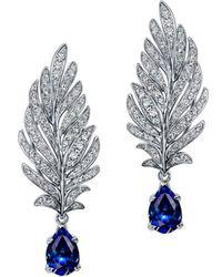 Chekotin Jewellery - White Gold, Diamond & Sapphire Angel Earrings   - Lyst