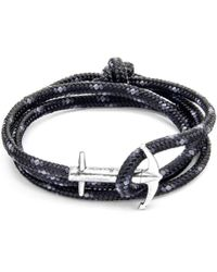 Anchor & Crew Black Admiral Silver And Rope Bracelet 2XnCk6W9B