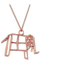 Origami Jewellery - Sterling Silver & Pink Gold Frame Elephant Origami Necklace - Lyst