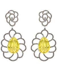 Arya Esha - Gold, Quartz & Champagne Diamond Drop Earrings | - Lyst