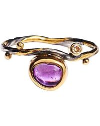 Bergsoe - Gold Seafire Ring With Champagne Diamond & Sapphire | - Lyst