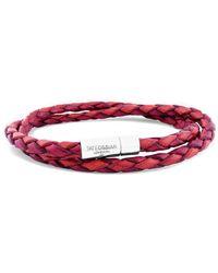 Tateossian - Silver & Red Double Wrap Two-tone Scoubidou Bracelet - Lyst