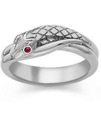 London Road Jewellery - Kew Serpent Sterling Silver Ruby Ring - Lyst